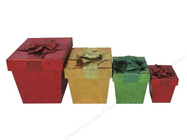 Darice Gift Box Set Nested Square Snowflake 4 pc. Holographic
