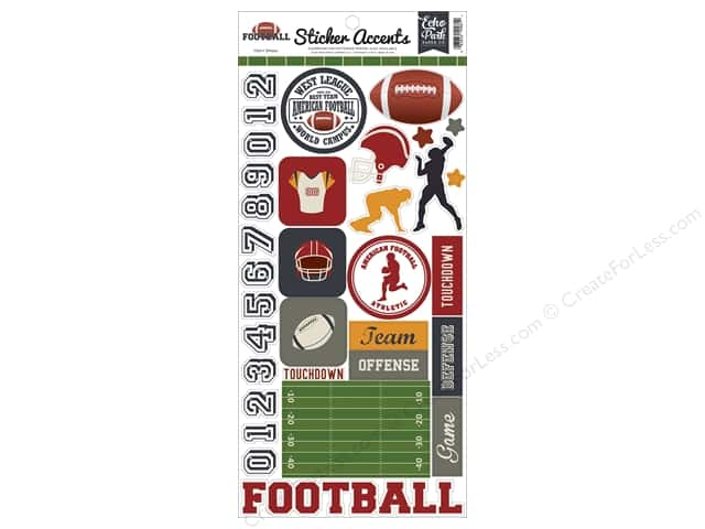 Echo Park Sticker 6 x 12 in. Football Accent (15 sheets)