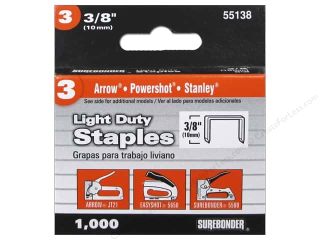 "Surebonder Staples Light Duty #3 3/8"" 1000pc"