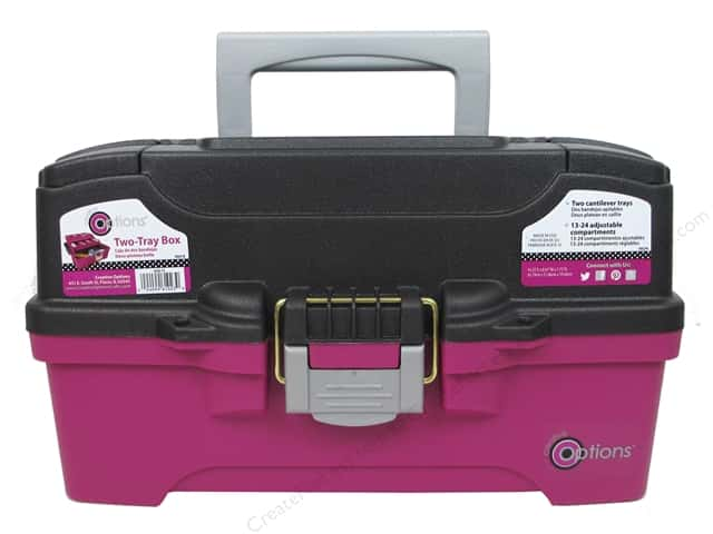 Creative Options Organizer Box Two Tray Magenta/Grey