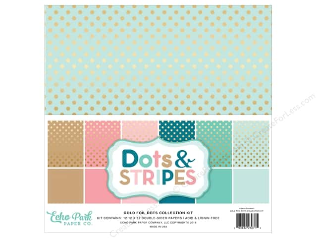 Echo Park 12 x 12 in. Collection Kit Dots & Stripes Gold Foil