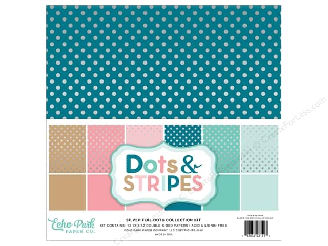 Echo Park 12 x 12 in. Collection Kit Dots & Stripes Silver Foil