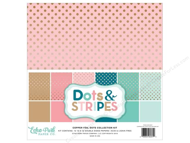 Echo Park 12 x 12 in. Collection Kit Dots & Stripes Copper Foil