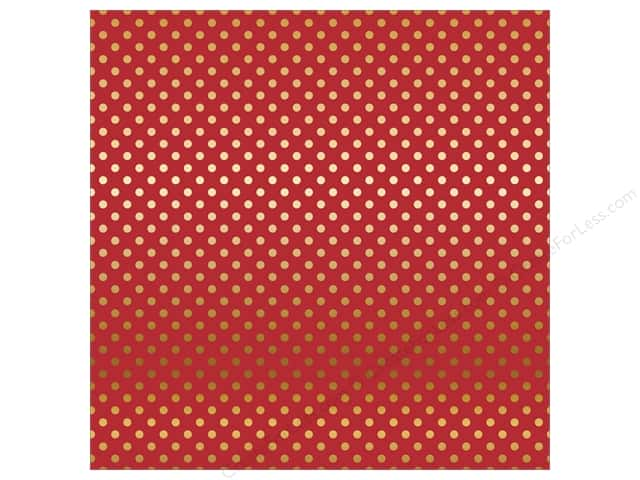 Carta Bella 12 x 12 in. Paper Dots Gold Foil/Red (15 sheets)