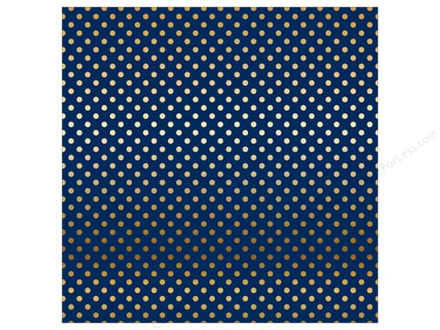 Carta Bella 12 x 12 in. Paper Dots Gold Foil/Navy (15 sheets)