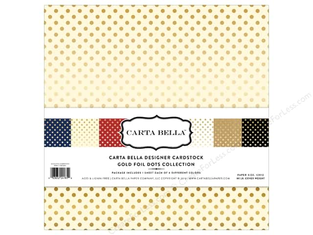 Carta Bella 12 x 12 in. Collection Kit Dots Gold Foil