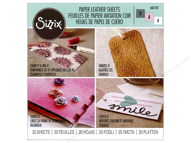 "Sizzix Accessories Paper Leather Sheet 6""x 6"" Assorted Pastel 20pc"