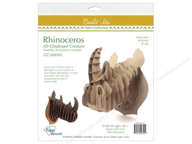"Paper Accents Build Its Chip Rhinoceros 8"" Tall"