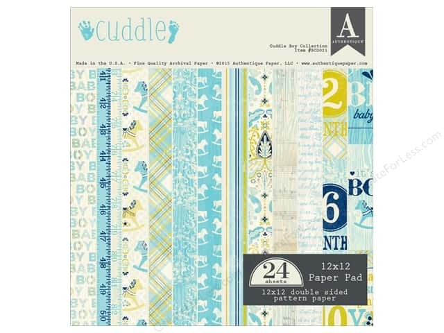 Authentique 12 x 12 in. Paper Pad Cuddle Boy Collection