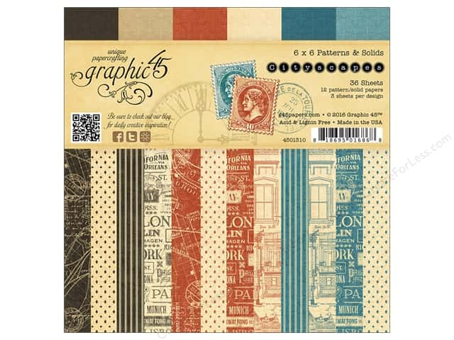 Graphic 45 6 x 6 in. Paper Pad Cityscapes Patterns & Solids