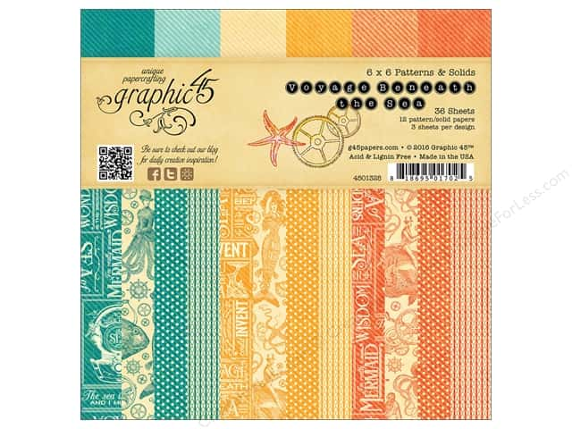 Graphic 45 6 x 6 in. Paper Pad Voyage Beneath The Sea Patterns & Solids