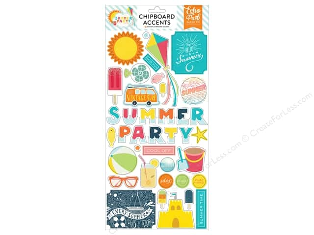 Echo Park Adhesive Chipboard Summer Party