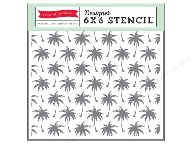 Echo Park Designer Stencil 6 x 6 in. Summer Party Collection Palm Trees