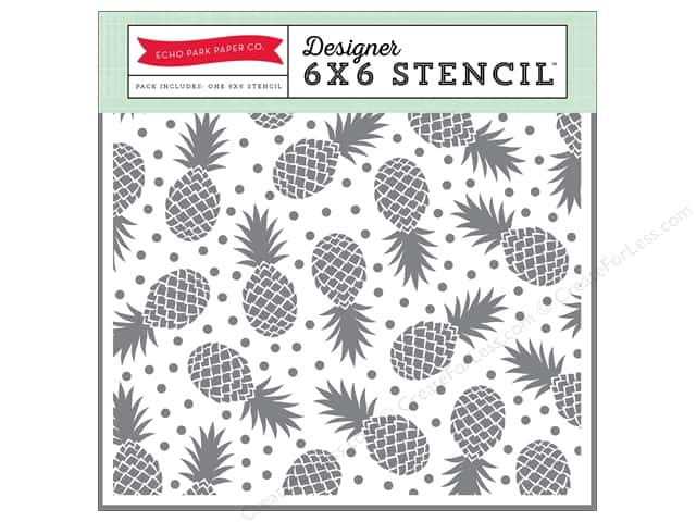 Echo Park Designer Stencil 6 x 6 in. Summer Party Collection Pineapples