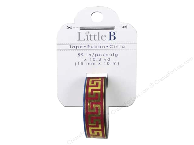 Little B Decorative Paper Tape 5/8 in. Gold Foil Greek Pattern