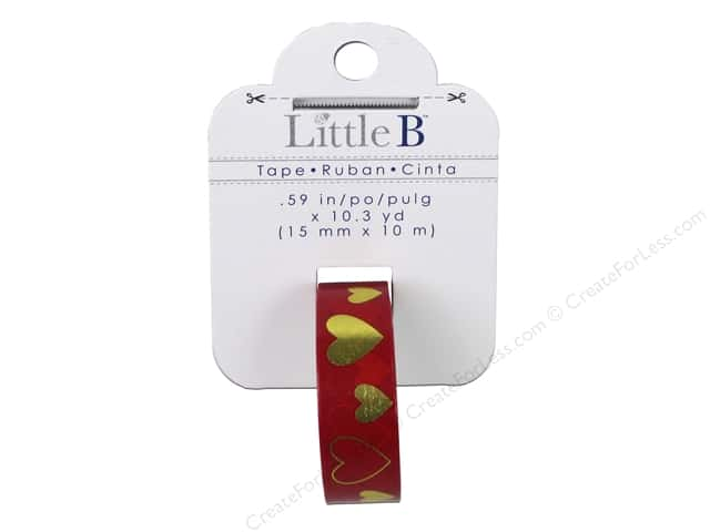 Little B Decorative Paper Tape 5/8 in. Gold Foil Red Hearts