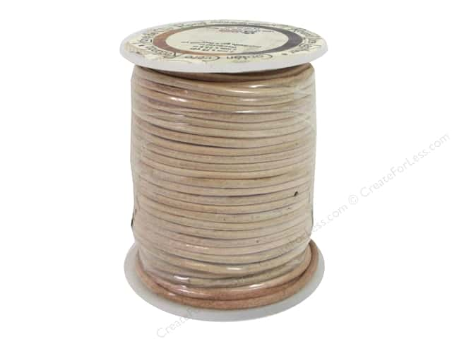 Leather Factory Round Lace 2 mm x 25 yd. Natural (25 yards)