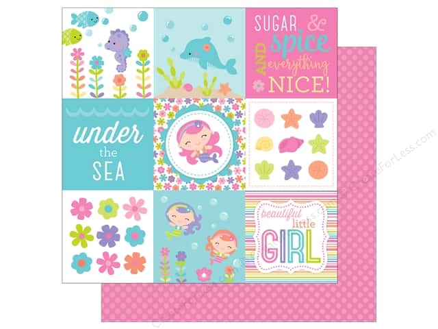 Doodlebug 12 x 12 in. Paper Under The Sea Pink Pearls (25 sheets)