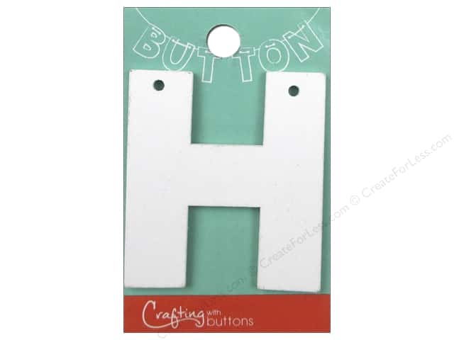 "Crafting With Buttons Wood Letter 2 1/4 in. ""H"" White"