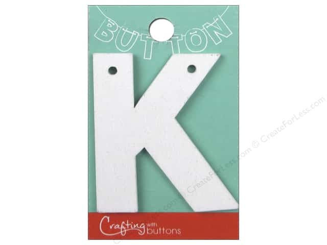 """Crafting With Buttons Wood Letter 2 1/4 in. """"K"""" White"""