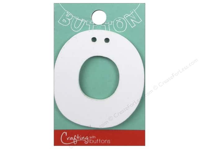"""Crafting With Buttons Wood Letter 2 1/4 in. """"O"""" White"""