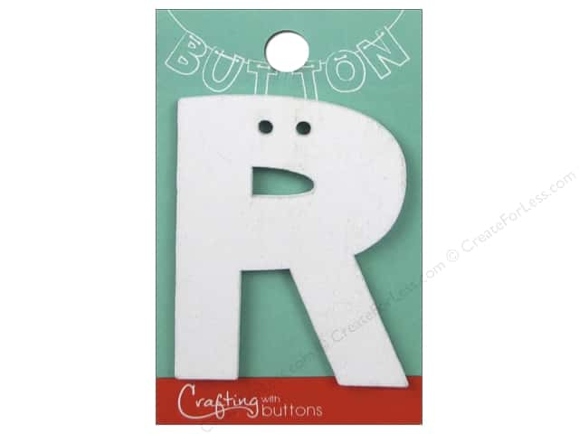 """Crafting With Buttons Wood Letter 2 1/4 in. """"R"""" White"""
