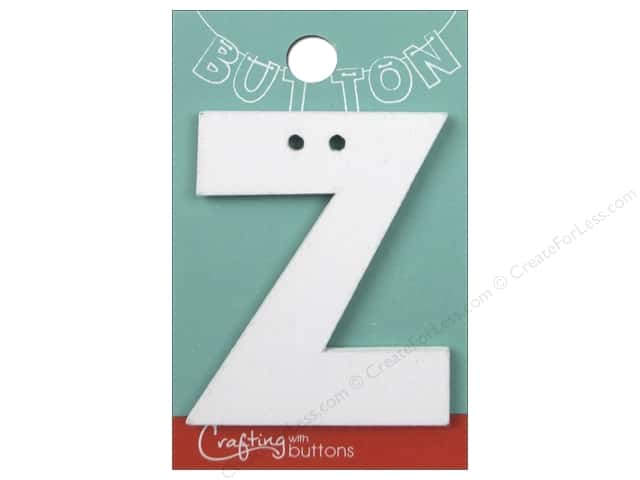 """Crafting With Buttons Wood Letter 2 1/4 in. """"Z"""" White"""