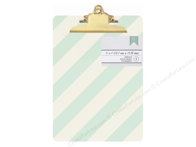 American Crafts Clipboard Mini Green & White Diagonal Stripes