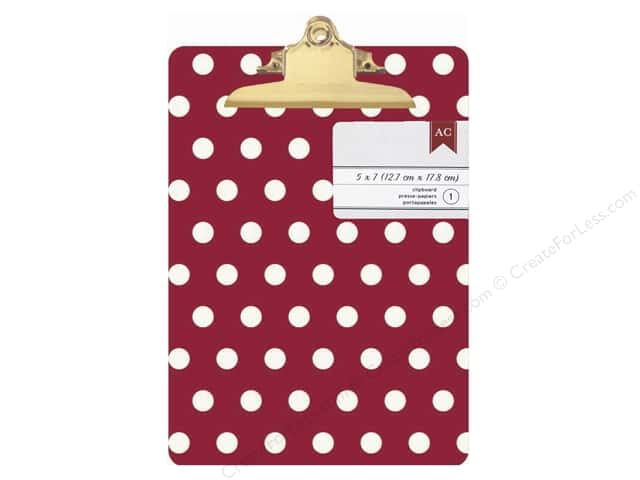 American Crafts Clipboard Mini Red & White Polka Dots