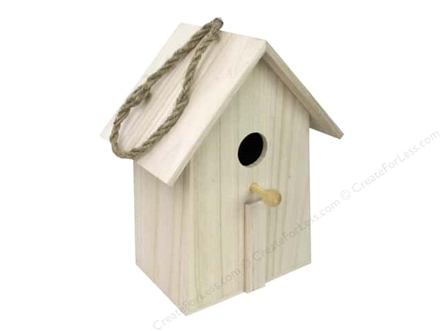 Sierra Pacific Crafts Wood Birdhouse Straight Side with Hanger