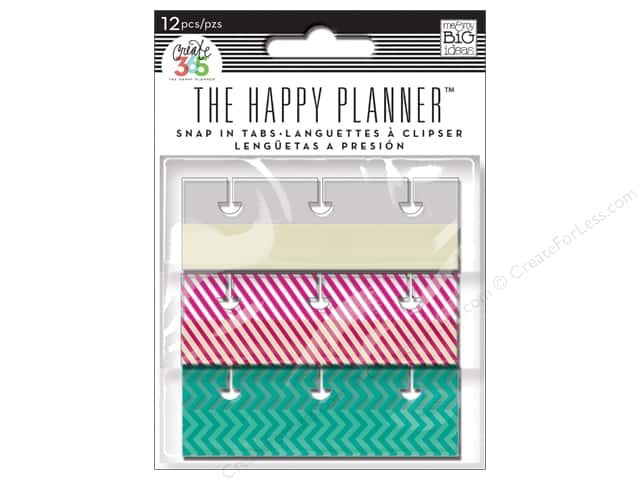 Me&My Big Ideas Create 365 Happy Planner Snap In Tabs Fun Brights