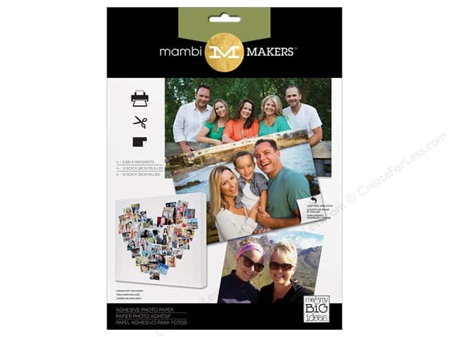 "Me&My Big Ideas Makers Adhesive Photo Paper 8.5""x 11"" 6pc"