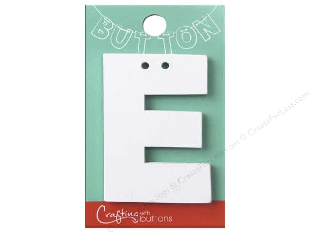 "Crafting With Buttons Wood Letter 2 1/4 in. ""E"" White"