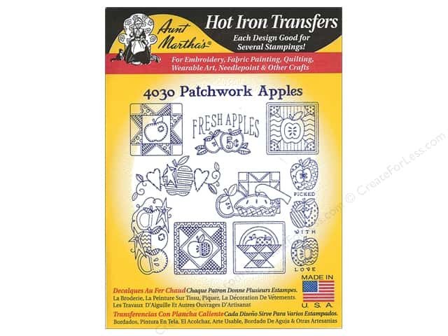Aunt Martha's Hot Iron Transfer #4030 Patchwork Apples