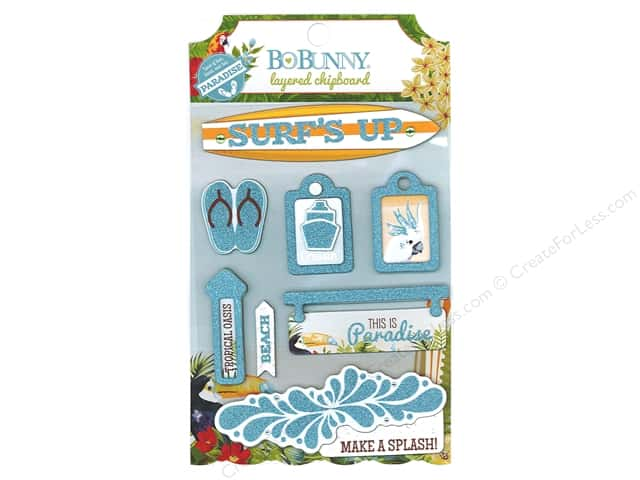 Bo Bunny Layered Chipboard Stickers Beach Therapy