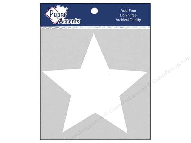 Paper Accents Chipboard Shape Star 8 pc. White