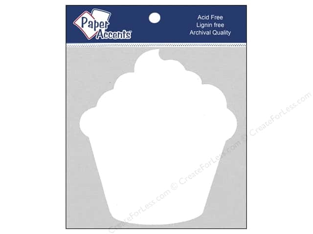 Paper Accents Chipboard Shape Cupcake 8 pc. White
