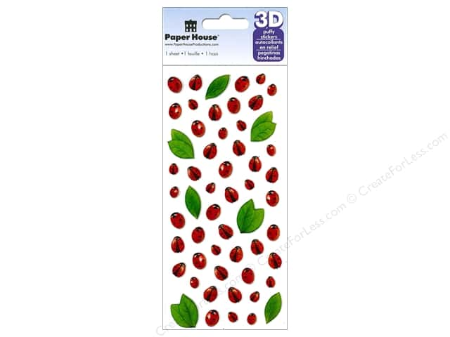 Paper House Sticker 3D Puffy Ladybugs