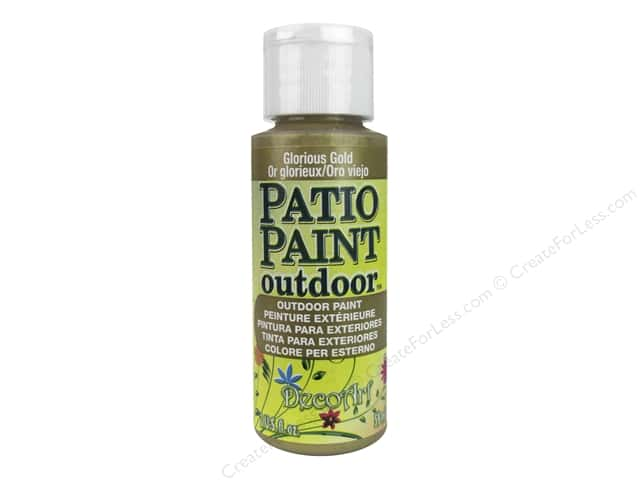 DecoArt Patio Paint Outdoor Acrylic Paint 2 oz. #400 Metallic Glorious Gold