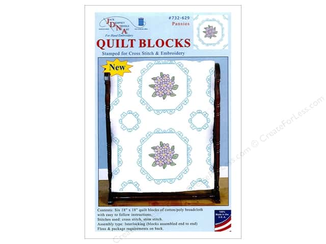 Jack Dempsey 18 in. Quilt Blocks 6 pc. Cross Stitch Pansies