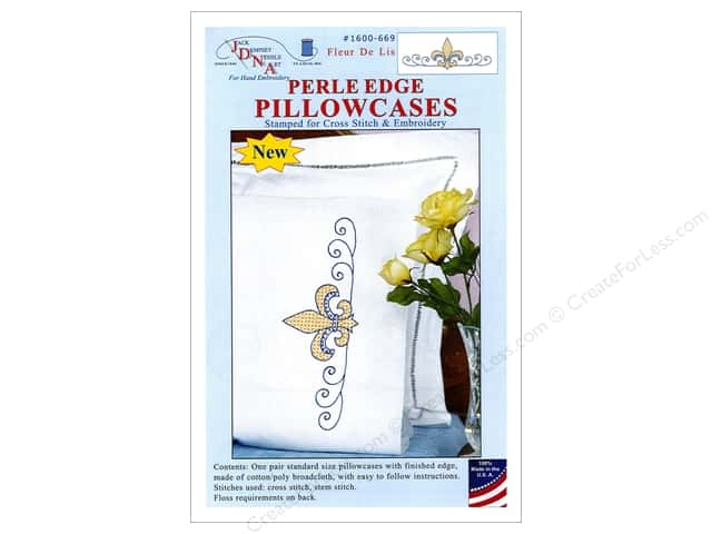 Jack Dempsey Pillowcase Perle Edge White Fleur de Lis
