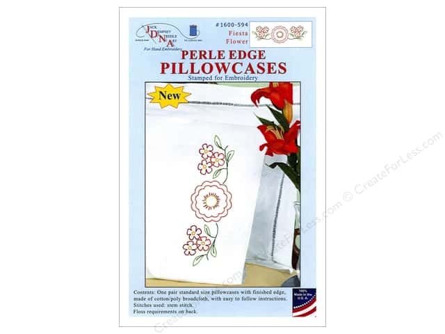 Jack Dempsey Pillowcase Perle Edge White Fiesta Flower