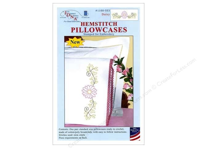 Jack Dempsey Pillowcase Hemstitched White Daisy