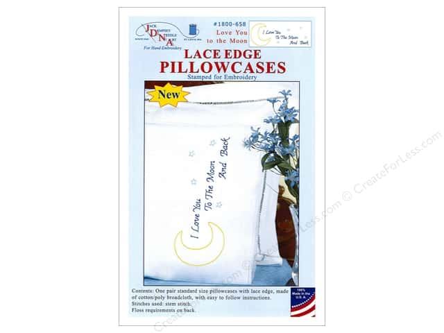 Jack Dempsey Pillowcase Lace Edge White Love You to the Moon