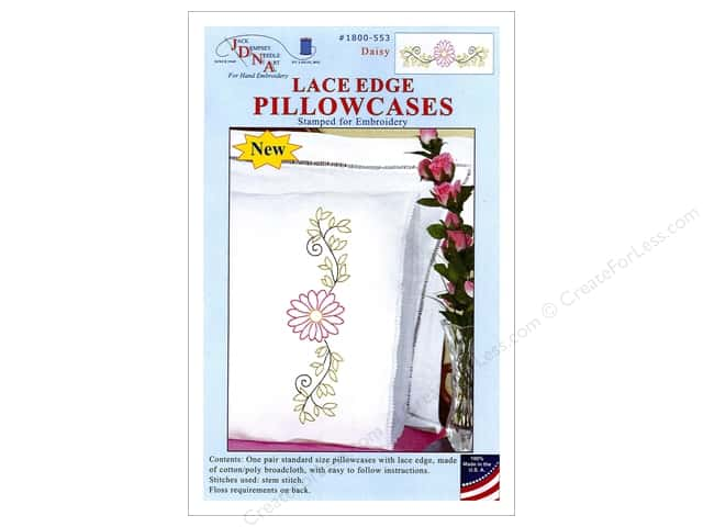 Jack Dempsey Pillowcase Lace Edge White Daisy