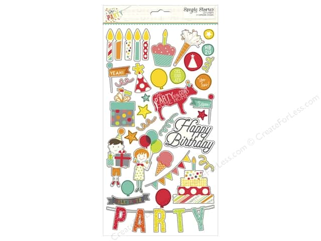 Simple Stories Adhesive Chipboard Lets Party Collection