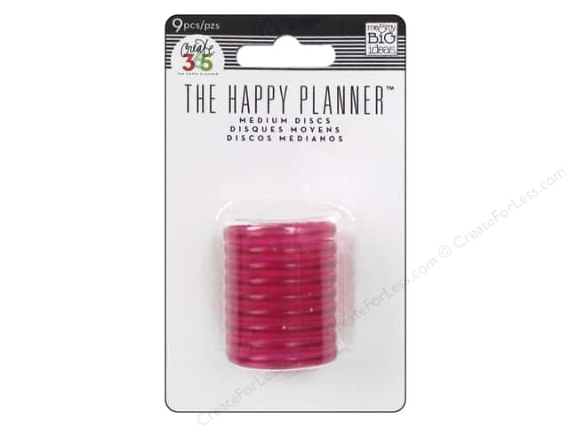 Me & My Big Ideas Create 365 The Happy Planner Medium Discs 9 pc. Translucent Pink