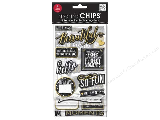 Me&My Big Ideas Sticker Designer Chipboard Chips Chalk Makes Me Smile Gold