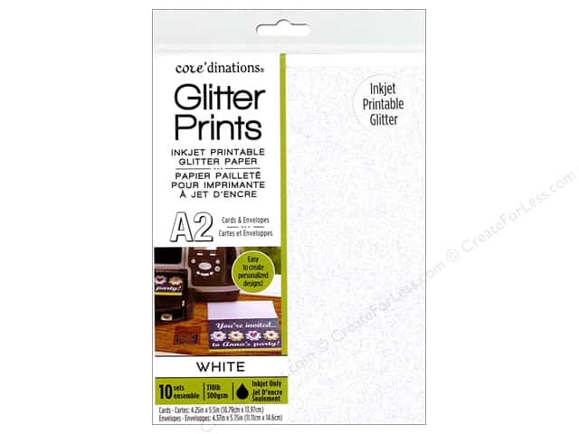 Coredinations Cards & Envelopes Glitter A2 White