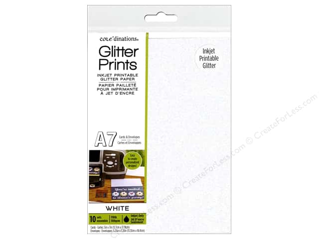 Coredinations Cards & Envelopes Glitter A7 White